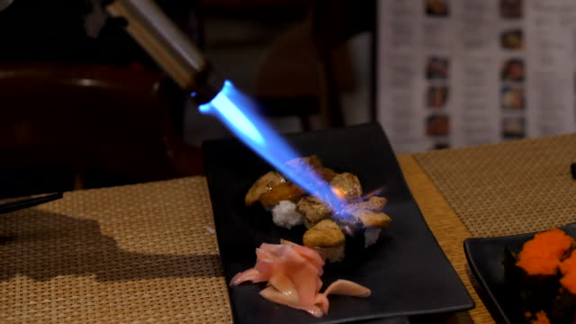 sushi fou gra burn - welding torch stock videos & royalty-free footage