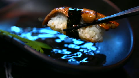 sushi japanese food eating, foie gras sushi - japanese food stock videos & royalty-free footage