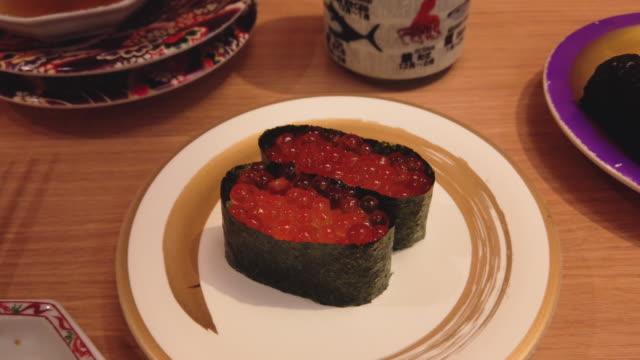 sushi - nigiri in restaurant, japan - nigiri stock videos and b-roll footage
