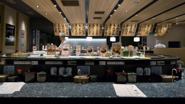 ms a sushi restaurant in japan / tokyo, japan - sushi video stock e b–roll