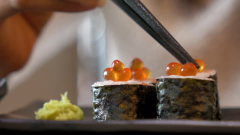 sushi roll with salmon - japanese food stock videos & royalty-free footage