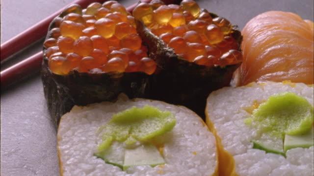 ecu, pan, sushi rolls - tuna seafood stock videos and b-roll footage
