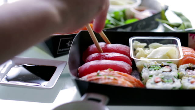 sushi sharing   fo - take away food stock videos and b-roll footage