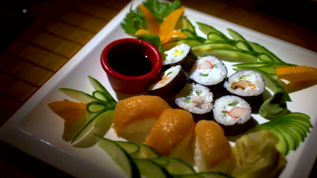 sushi with salad and soy sauce - japanese food stock videos & royalty-free footage