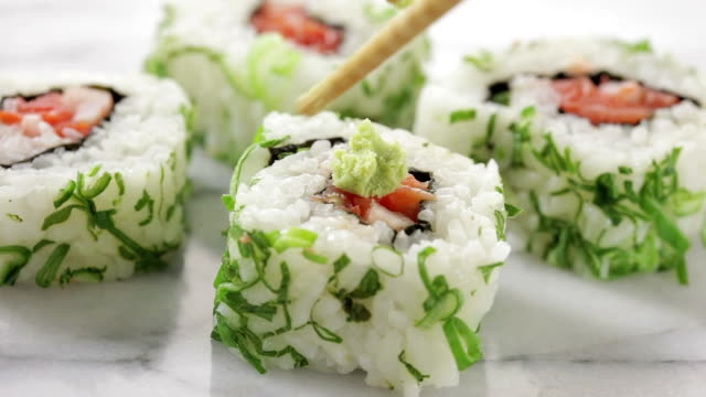 Sushi with wasabi.