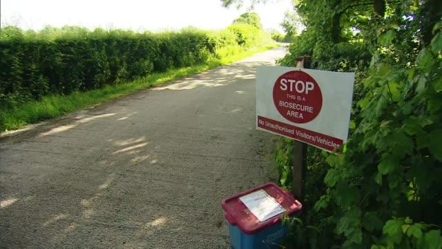 stockvideo's en b-roll-footage met suspected case of bird flu at lancashire poulty farm england lancashire preston goosnargh ext long shots of poultry farm buildings sign at farm... - vogelpestvirus