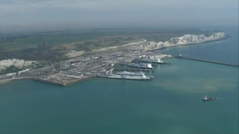suspected migrants rescued from dinghy in english channel; aerial port of dover - english channel stock videos & royalty-free footage