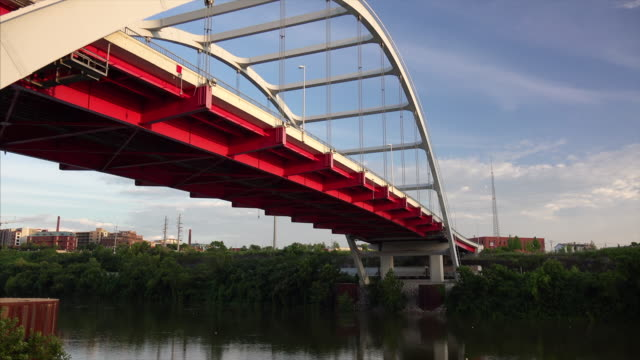 suspension bridge across the cumberland river in nashville, tennessee - tennessee stock videos & royalty-free footage