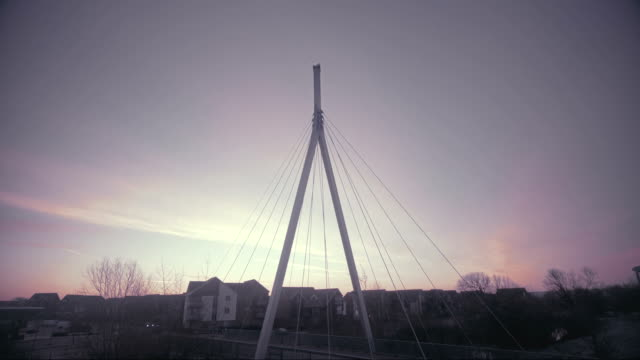 suspension bridge at dusk - international landmark stock videos & royalty-free footage