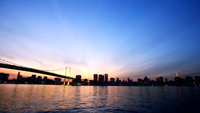 suspension bridge over river at sunrise - tokyo japan stock videos and b-roll footage