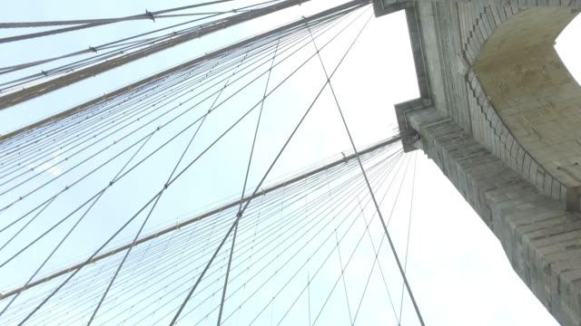 suspension cable and towers on the brooklyn bridge - cable stayed bridge stock videos & royalty-free footage
