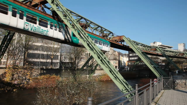 MS Suspension railroad over Wupper river / Wuppertal, North Rhine-Westphalia, Germany