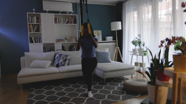 suspension workout at home - metabolic syndrome stock videos & royalty-free footage