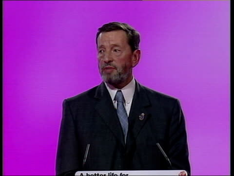 sussex: brighton: int home secretary david blunkett mp speaking at podium in labour party conference with 'a better life for all' backdrop cms 'a... - charles clarke uk politician stock videos & royalty-free footage