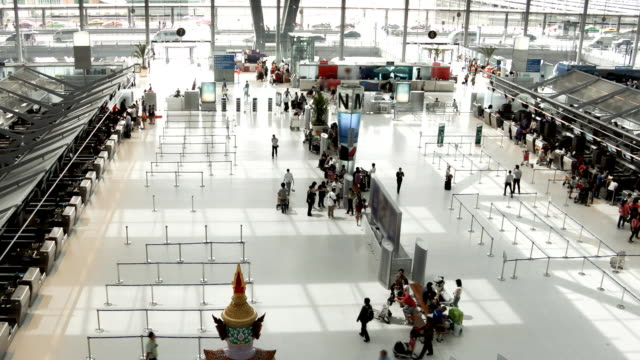 suvarnabhumi airport zoom out timelapse - building entrance stock videos & royalty-free footage