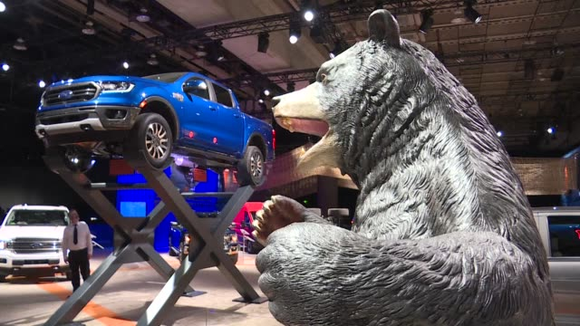 suvs trucks and sports cars are the stars of a subdued detroit auto show with fewer carmakers present this year - ford motor company stock videos & royalty-free footage