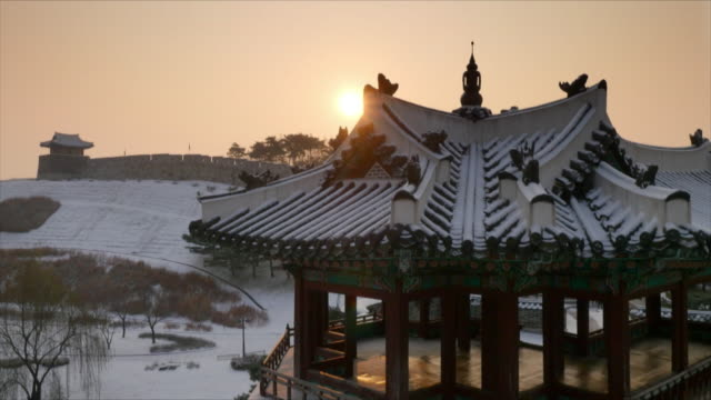 suwon hwaseong fortress (unesco world heritage site) at winter - suwon stock videos and b-roll footage