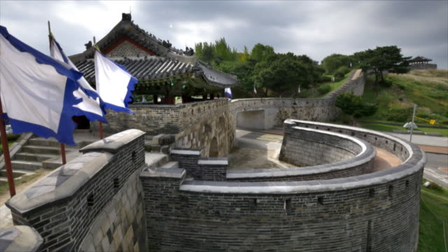 suwon hwaseong fortress (unesco world heritage site) - hwaseong palace stock videos and b-roll footage