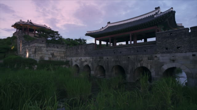 suwon hwaseong fortress (unesco heritage site) - suwon stock videos and b-roll footage