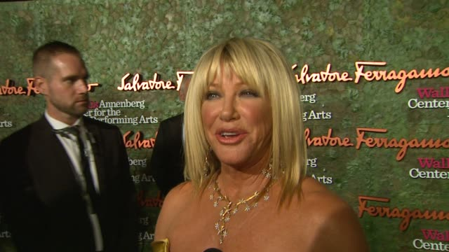 interview suzanne somers on the event at wallis annenberg center for the performing arts inaugural gala presented by salvatore ferragamo on 8/17/13... - suzanne somers stock videos & royalty-free footage
