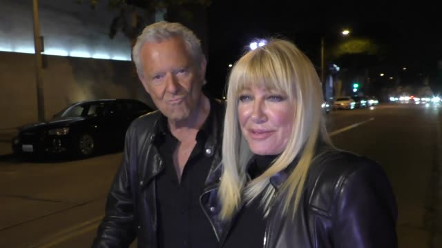 interview suzanne somers shares the secret to a long marriage outside craig's in west hollywood at celebrity sightings in los angeles on december 16... - suzanne somers stock videos & royalty-free footage