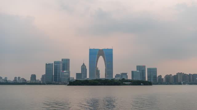 t/l suzhou skyline, jiangsu province, china - jiangsu province stock videos & royalty-free footage
