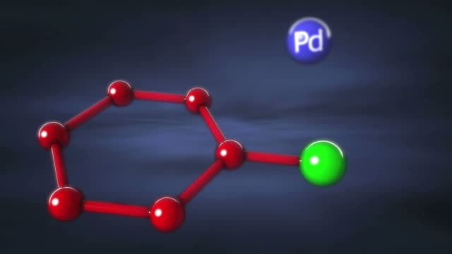 Suzuki reaction. Animation showing the Suzuki reaction, a chemical reaction that forms a carbon-carbon bond between two molecules.