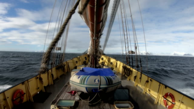 svalbard expedition by sailing boat to nothern fjords, glacier - rigging nautical stock videos & royalty-free footage
