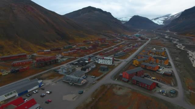 svalbard longyearbyen aerial view - seed stock videos & royalty-free footage