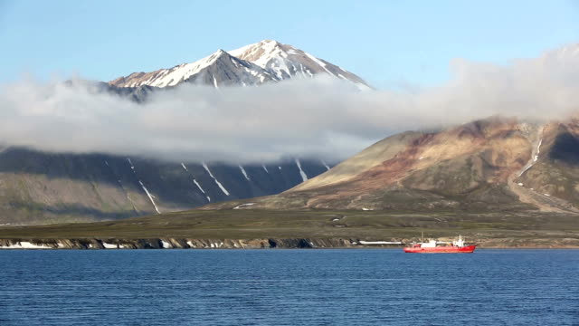Svalbard mountain and ship