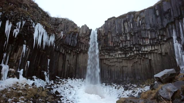 Svartifoss waterfall in cloudy day, Iceland