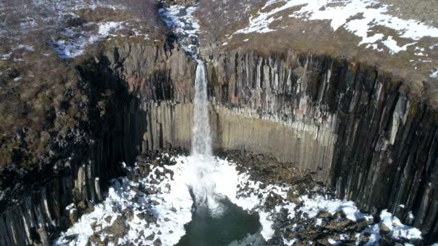 svartifoss waterfall - moss stock videos & royalty-free footage