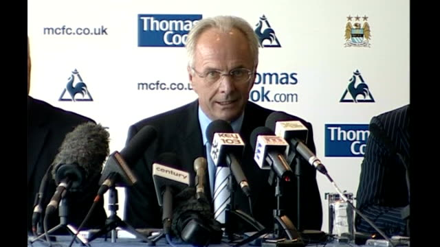 sven goran eriksson named as new manchester city manager svengoran eriksson press conference sot on whether he has to prove himself in premier league... - national team stock videos & royalty-free footage