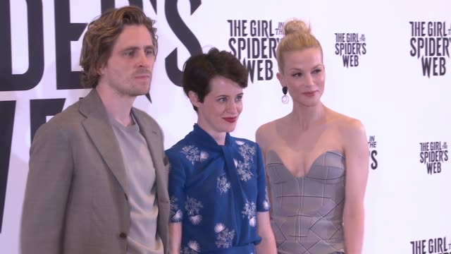 sverrir gudnason claire foy and slyvia hoeks pose during a photocall for 'the girl in the spider's web' at cine europe 2018 - fototermin stock-videos und b-roll-filmmaterial
