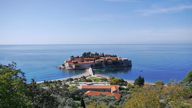 sveti stefan island city, montenegro - montenegro stock videos & royalty-free footage
