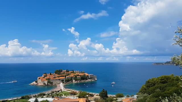 sveti stefan island in montenegro - wide stock videos & royalty-free footage