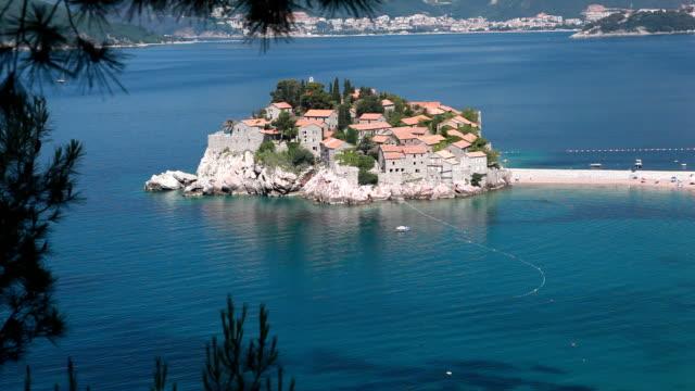 sveti stefan, montenegro - exclusive island luxury resort hotel - rustic stock videos & royalty-free footage