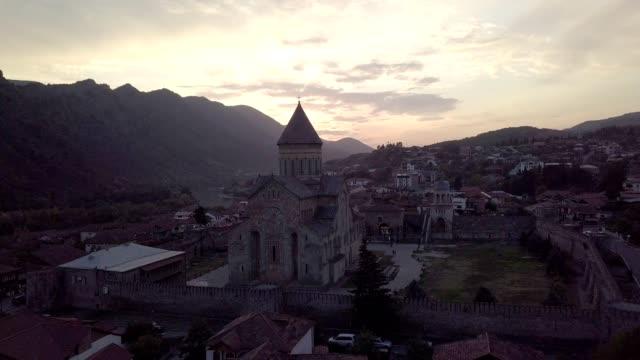 svetitskhoveli cathedral in the center of mtskheta city, georgia. - eastern european culture stock videos & royalty-free footage