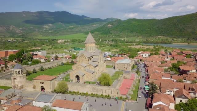 svetitskhoveli cathedral, mtskheta, georgia / aerial view 4k - tunic stock videos & royalty-free footage