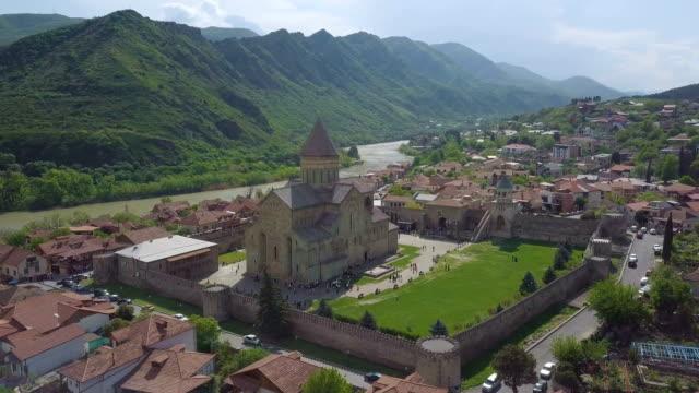 svetitskhoveli cathedral, mtskheta, georgia / aerial view 4k - roman soldier stock videos and b-roll footage