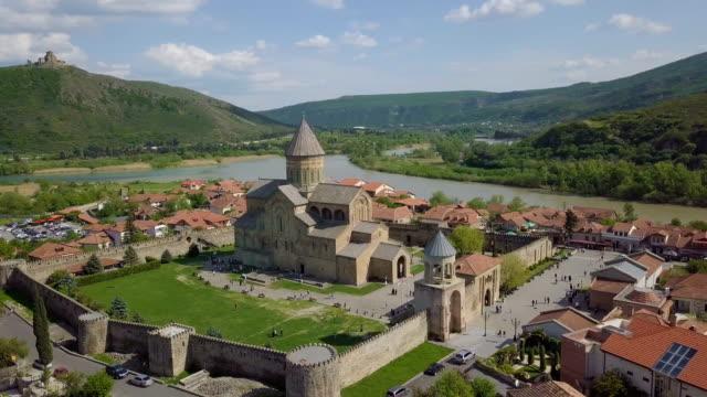 svetitskhoveli cathedral, mtskheta, georgia /bird's eye view - tunic stock videos & royalty-free footage