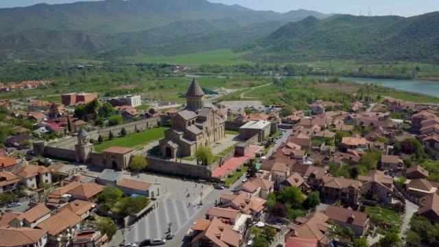 svetitskhoveli cathedral, mtskheta, georgia /panoramic bird's eye view - roman soldier stock videos and b-roll footage