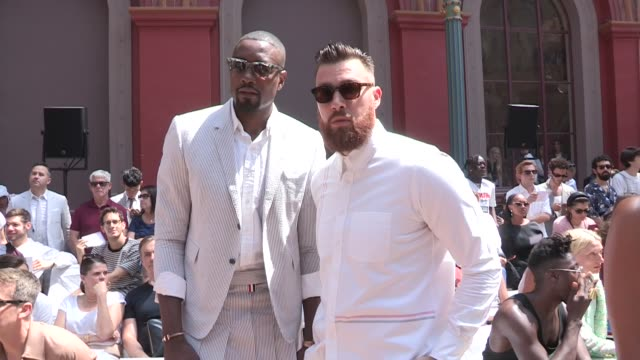 swae lee serge ibaka travis kelce kayla nicole and more front row for the thom browne spring summer 2020 menswear fashion show in paris paris france... - spring summer collection stock videos & royalty-free footage