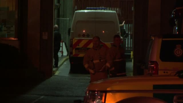 kent isle of sheppey emergency services outside swaleside prison / ambulance and staff / vehicle entering through garage door / vehicles outside... - emergency services vehicle stock videos and b-roll footage