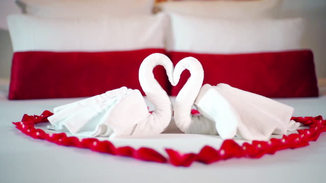 swan towel decoration on bed for lover in bedroom interior - cigno video stock e b–roll