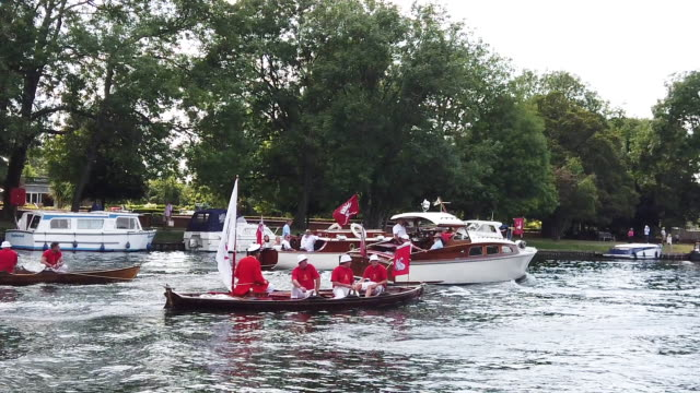 stockvideo's en b-roll-footage met swans and cygnets are rounded up ready to be tagged and weighed on the second day of the annual swan upping census on july 16 2019 on the river... - jonge zwaan