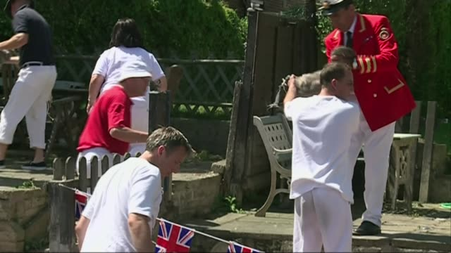 vídeos de stock e filmes b-roll de 20 swans from windsor flock die from suspected bird flu t14071453 / tx swans being handed ashore during annual swan upping on river thames swan being... - vírus da gripe aviária