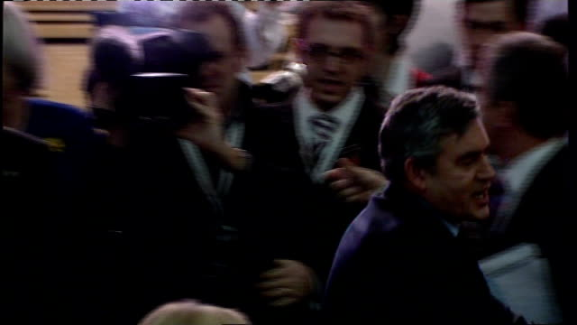 gordon brown shaking hands with supporters as along at welsh labour party conference gordon brown mp speech at conference sot - the only thing i... - イーストエンダーズ点の映像素材/bロール