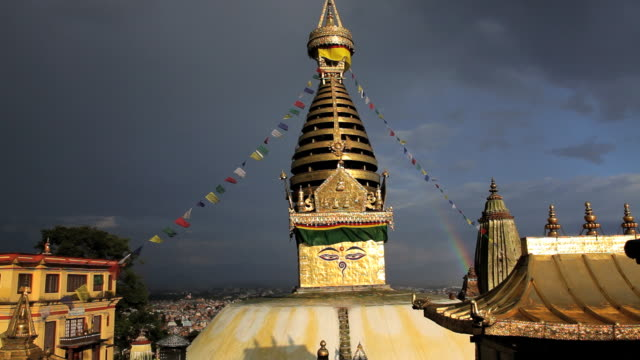 swayambhunath stupa or monkey temple a place of worship, kathmandu, nepal, asia    - mandala stock videos & royalty-free footage