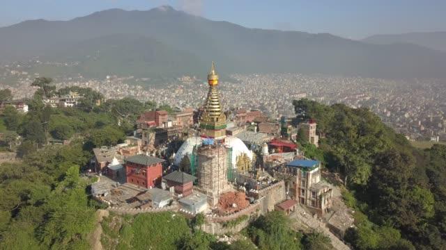 swayambhunath temple, atop a hill in kathmandu, nepal - nepal stock videos & royalty-free footage